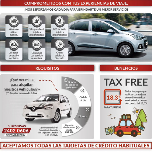 alquiler de autos y utilitarios flota 2018 - vip rent a car