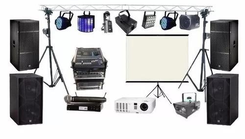 alquiler de parlantes luces proyector pantalla discoteca