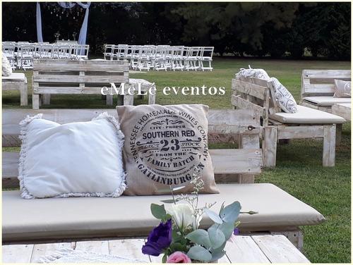 alquiler living rústico pallet altar de bodas ambientaciones