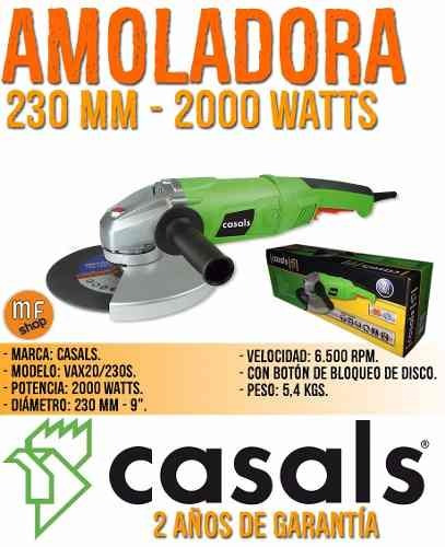 amoladora angular casals 230 mm 2000 watts 2 años gtia mf
