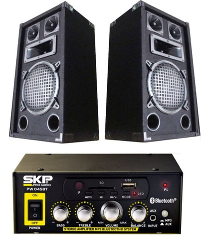amplificador bluetooth mp3 fm 2 bafles de 8 3 vias by dancis