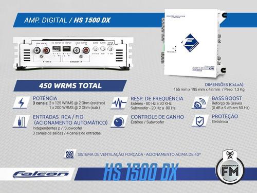 amplificador digital hs 1500 dx - 3 canais estéreo/subwoofer