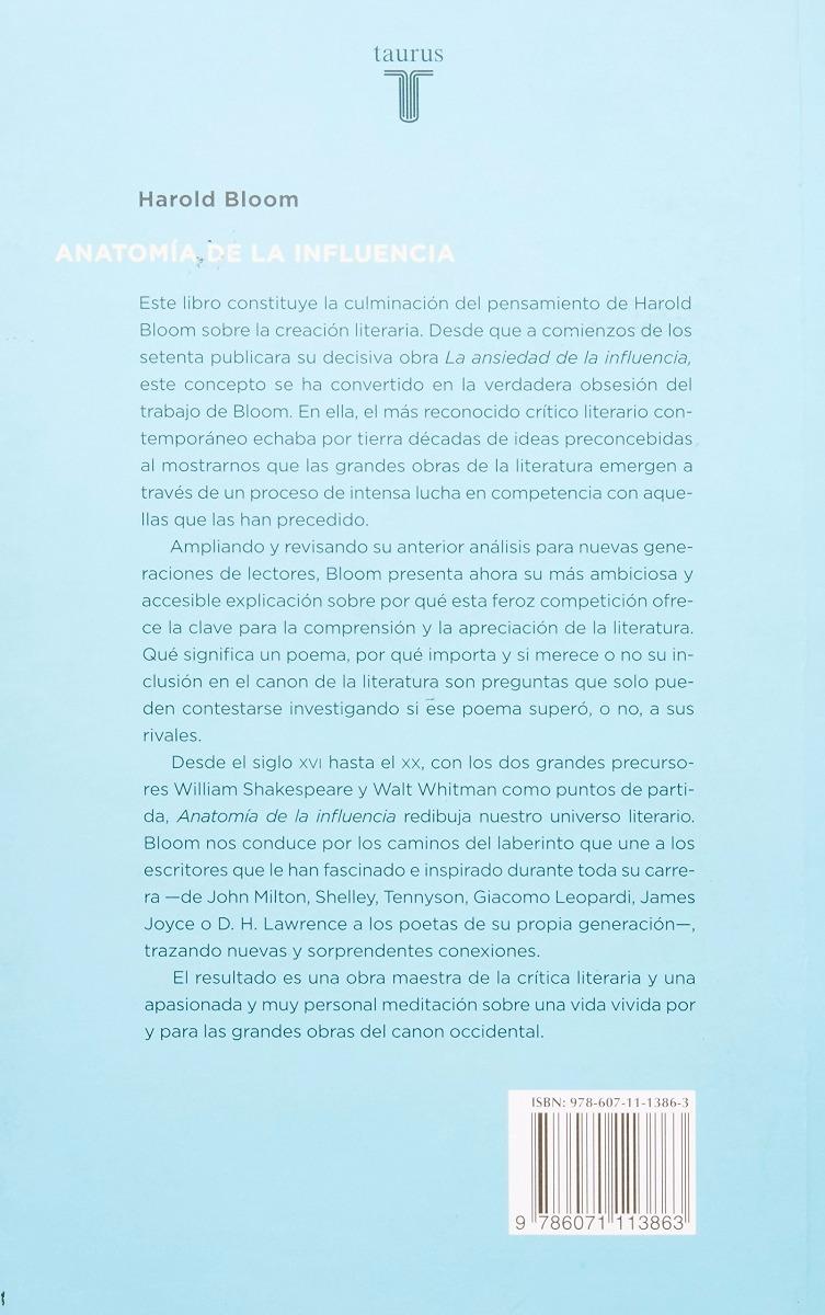 Anatomía De La Influencia. Harold Bloom - $ 280.00 en Mercado Libre