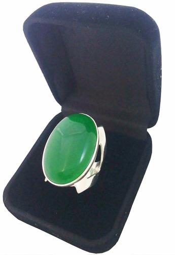 anel feminino prata 950 maciça com pedra natural jade verde