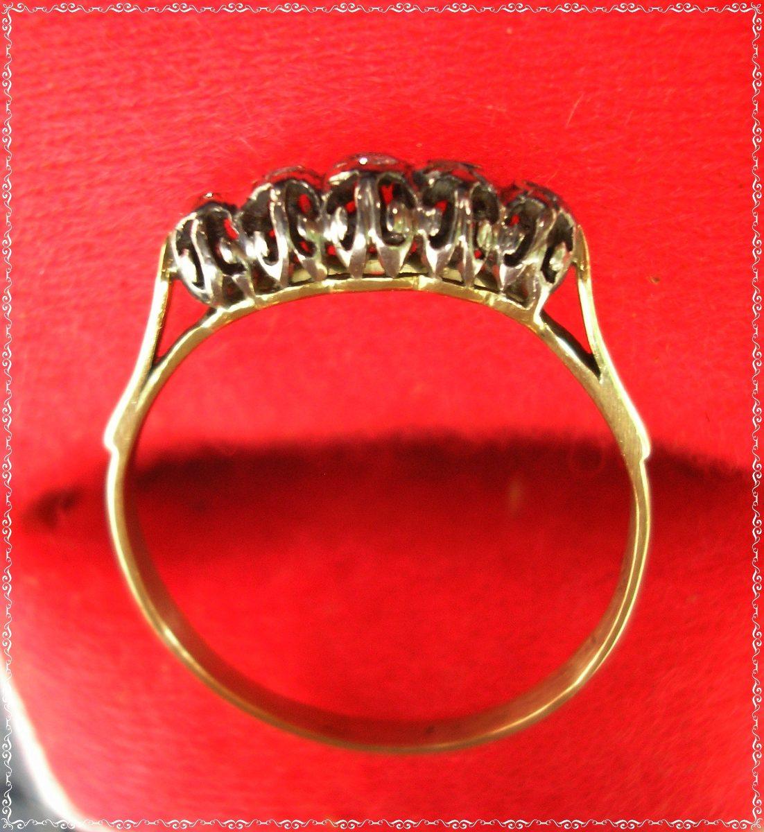 b39a660d788f anillo antiguo cintillo oro 18k 5 brillantes en platino. Cargando zoom.