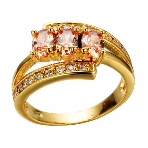 anillo circonias anaranjadas oro goldfilled amarillo 10k t 8