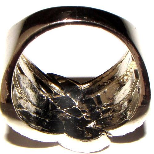 anillo cruzado baño plata 925 sellado/strass azul zafiro