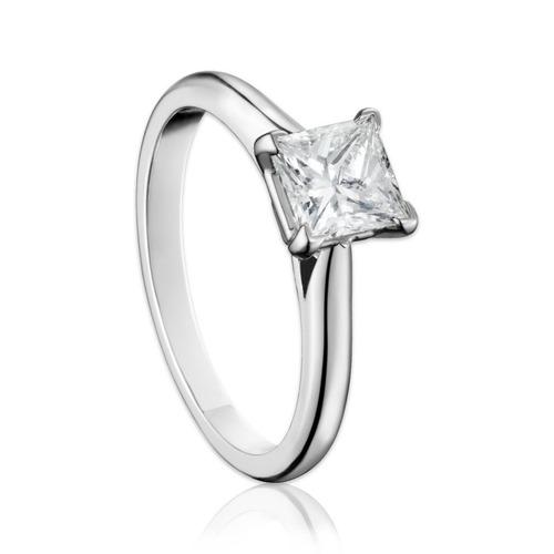 anillo de diamante natural princess gia 41 pts. y oro 18k
