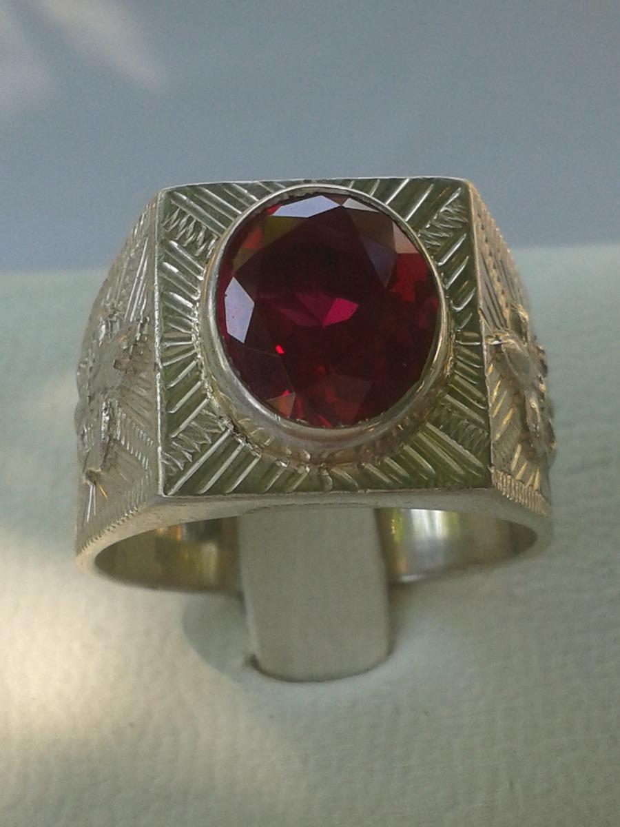 494f365d87e6 anillo de plata 950 con piedra rubi oval facetada de hombre. Cargando zoom.