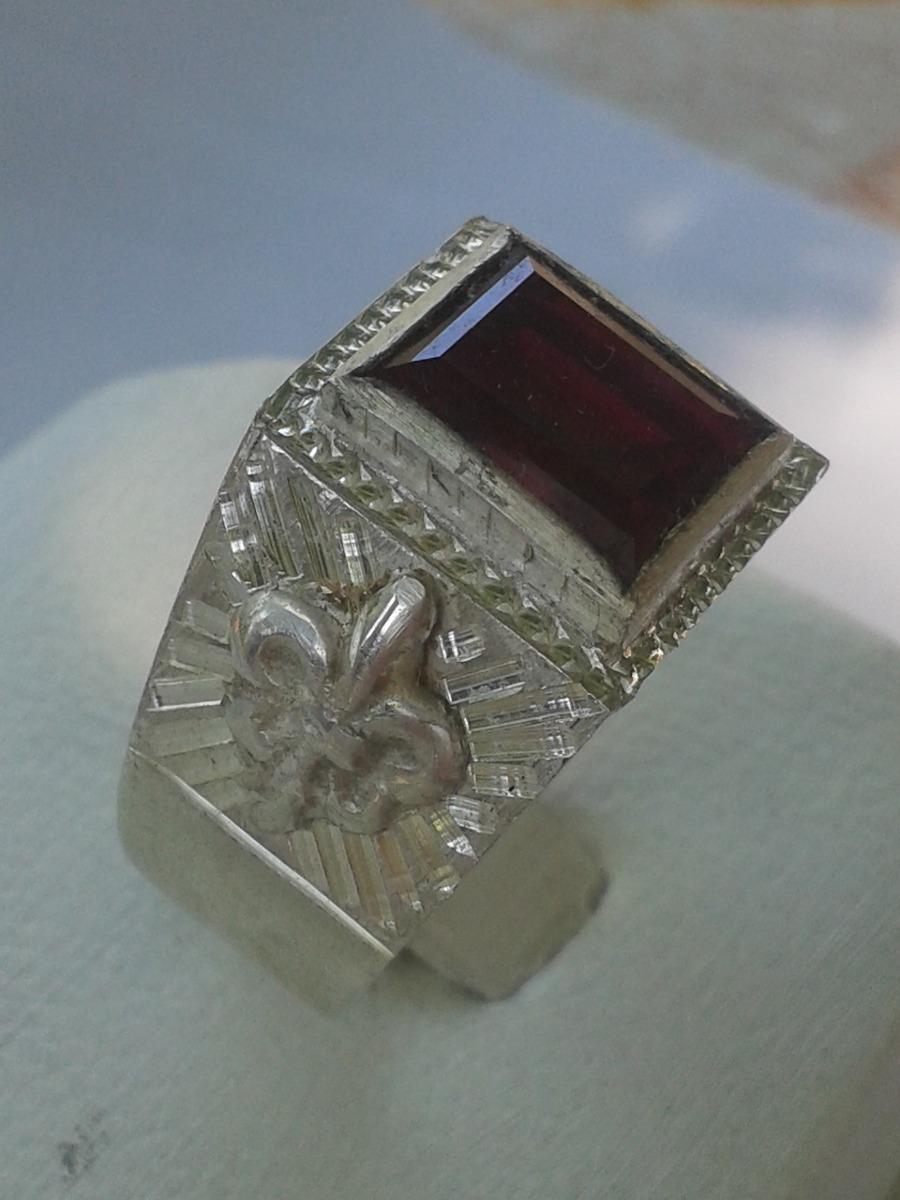 4e54c293de9e anillo de plata 950 con piedra rubi rectangular de hombre. Cargando zoom.