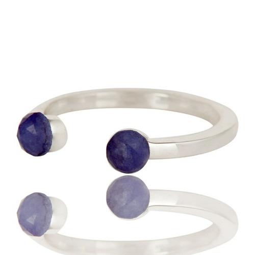 anillo de plata con zafiro #409