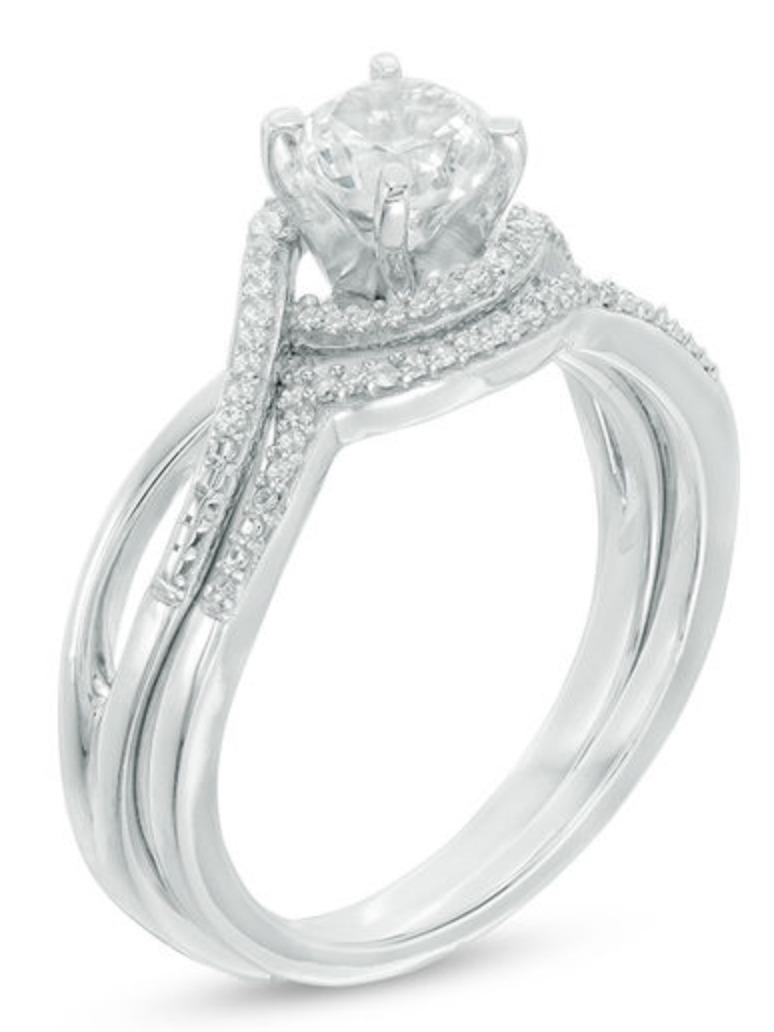 cb5a7b155f55 anillo de plata con zafiro blanco y diamantes - de 2 piezas. Cargando zoom.