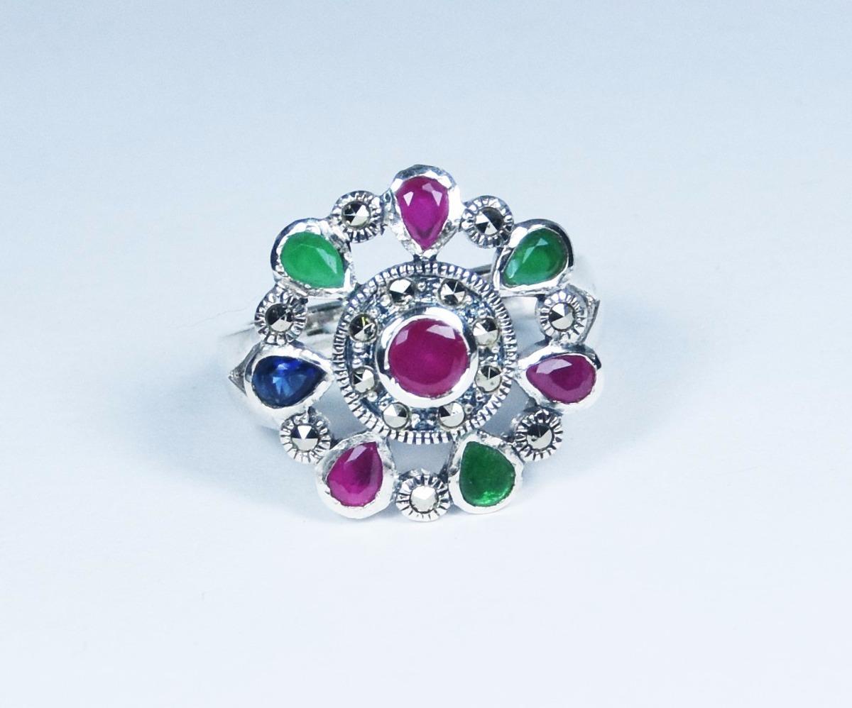 7870cd7f8e56 anillo de plata y piedras preciosas guilad joyas prc08. Cargando zoom.