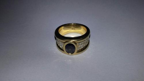 anillo importante brillantes diamantes y zafiro azul facetea