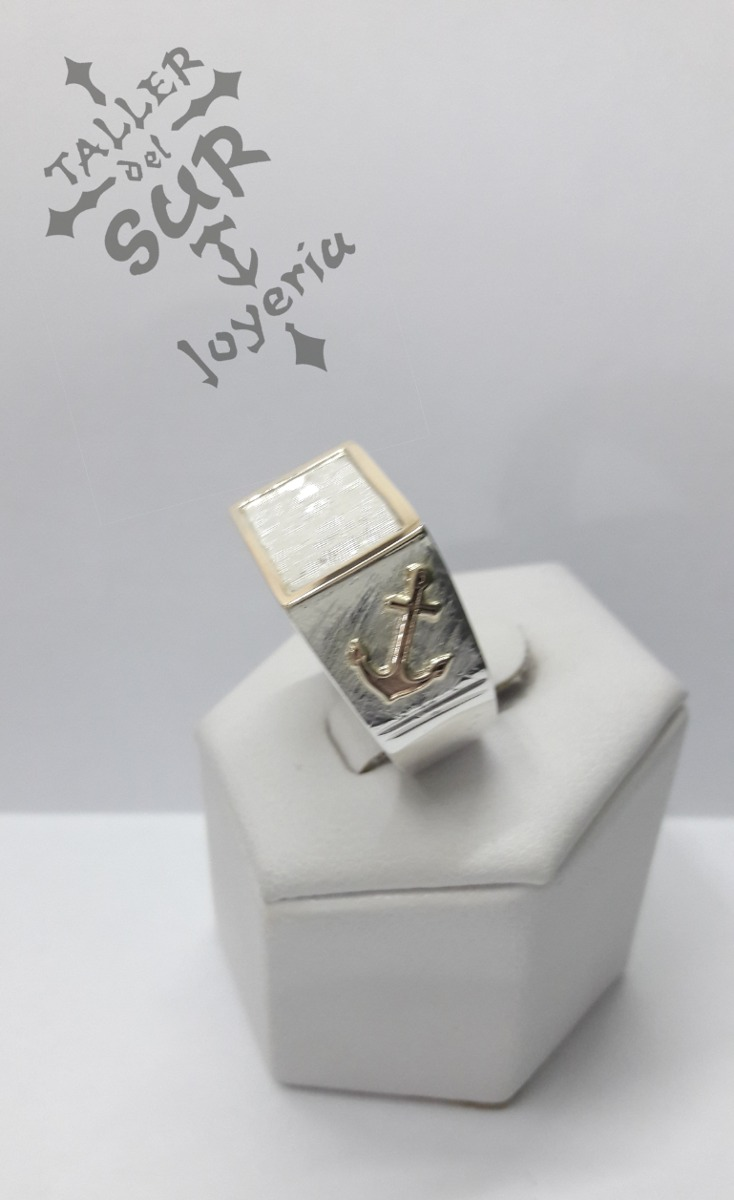 cf180e6d093a anillo iniciales sello hombre plata y oro ancla. Cargando zoom.