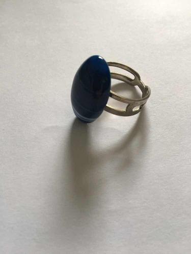 anillo piedra zafiro azul engarce ajustable plata 925