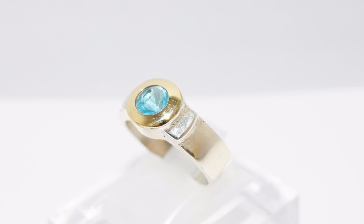 004c8b2a992b anillo plata y oro con circonia aguamarina guilad gma1. Cargando zoom.