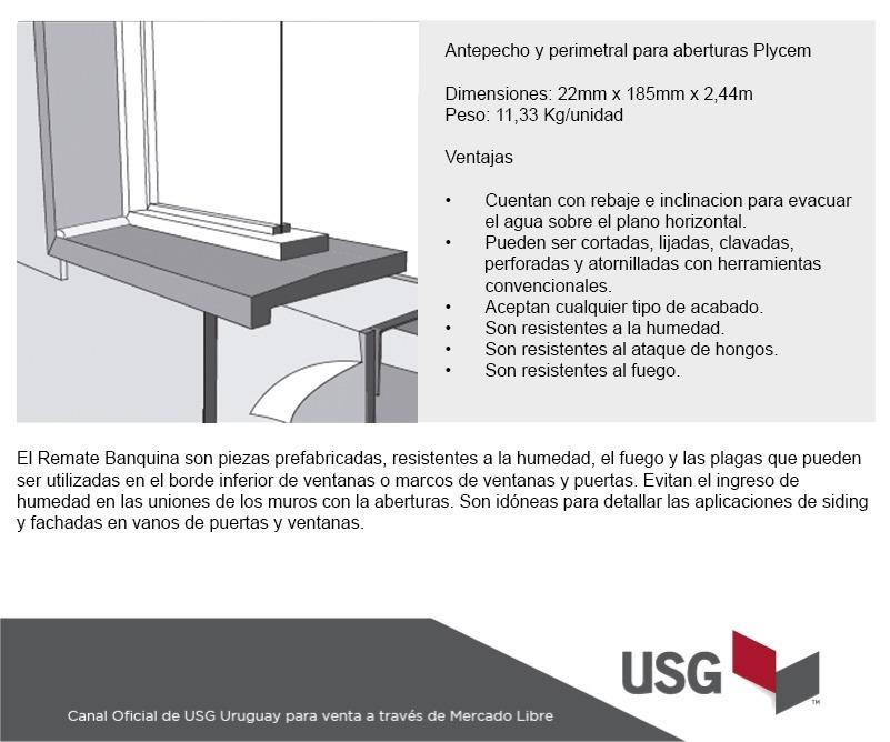 Antepecho Y Perfil Perímetral Ventanas Fibrocemento - U$S 29,69 en ...