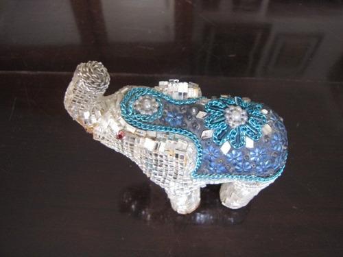 antigo mini elefante com pedras #286