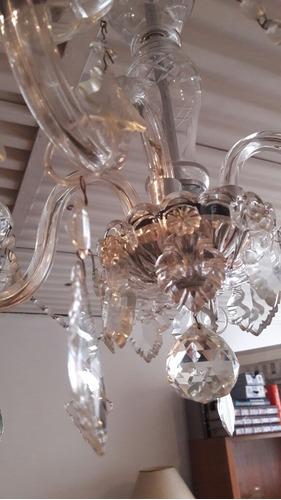 antigua araña en cristal de bohemia  4 luces !!
