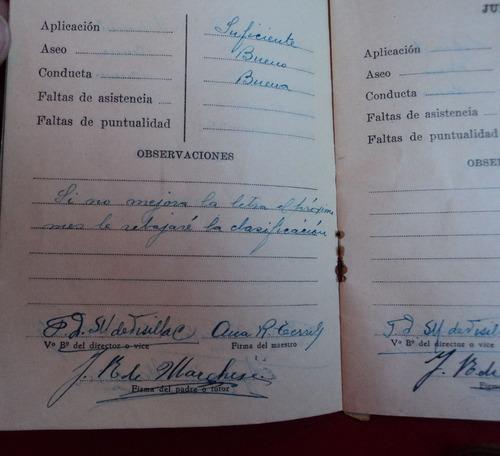 antigua cedula escolar y libreta de calificaciones 1939