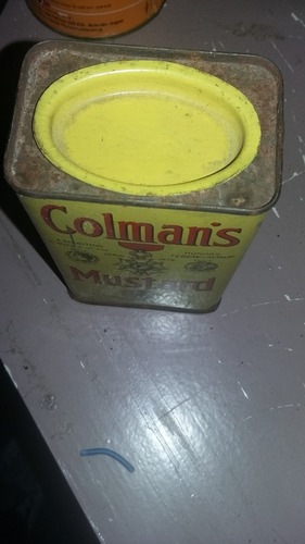 antigua lata de mostaza en polvo impecable conservacion