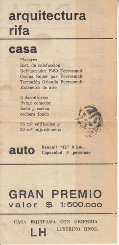 antigua publicidad rifa arquitectura uruguay ephemera raro