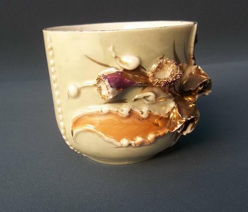 antigua taza isabelina flores en oro ideal coleccionista