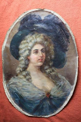 antiguas pinturas cuadros oleo sobre lienzo mujer 1900 firm