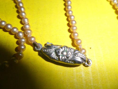 antiguo collar gargantilla moda diseño perla perlitas broche