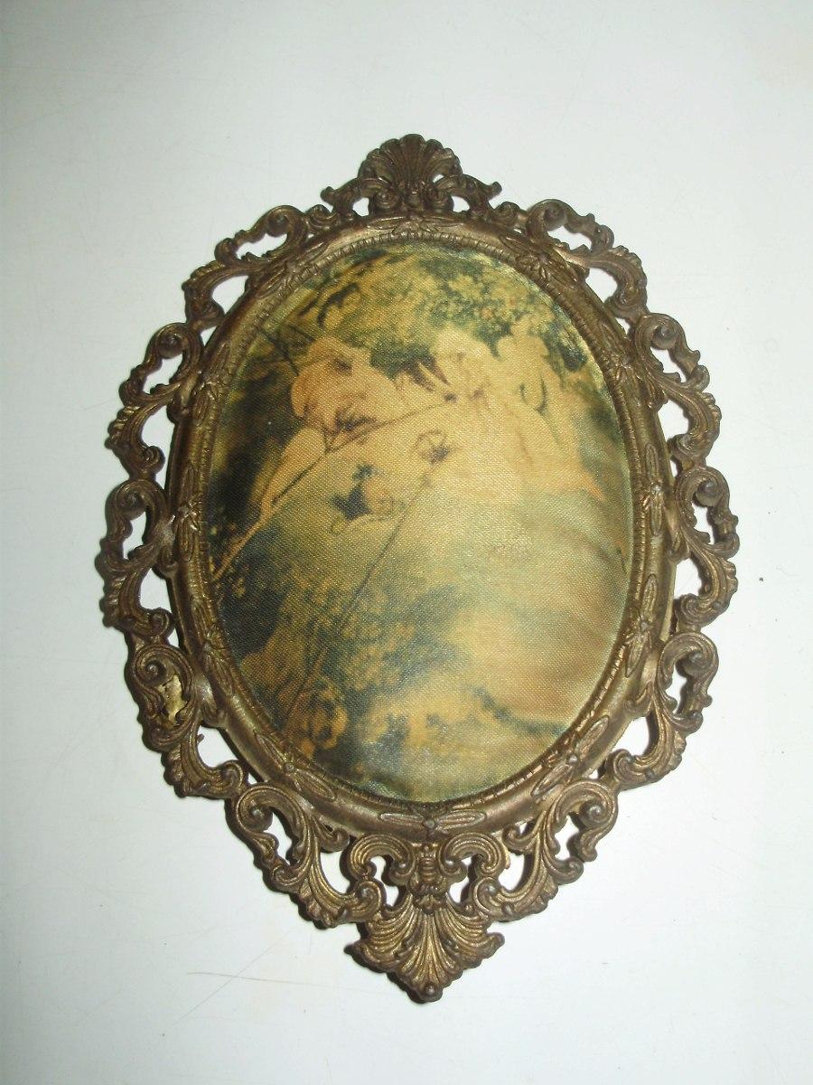 Antiguo Cuadrito Ovalado Marco Bronce Imagen Tela Italia - $ 360,00 ...