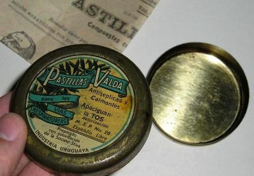 antiguo envase lata + prospecto pastillas valda botica