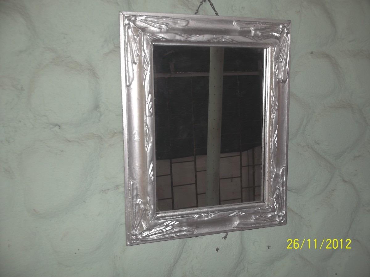 Antiguo Espejo C Marco De Madera Y Yeso Pintado De Plateado 280