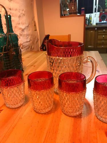 antiguo juego de jarra y copas para agua , limonada etc