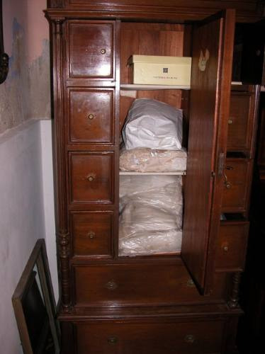 antiguo mueble vestidor ropero nogal cajonera y espejo