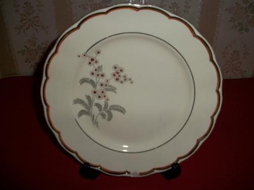 antiguo plato porcelana inglesa pintado a mano borde oro