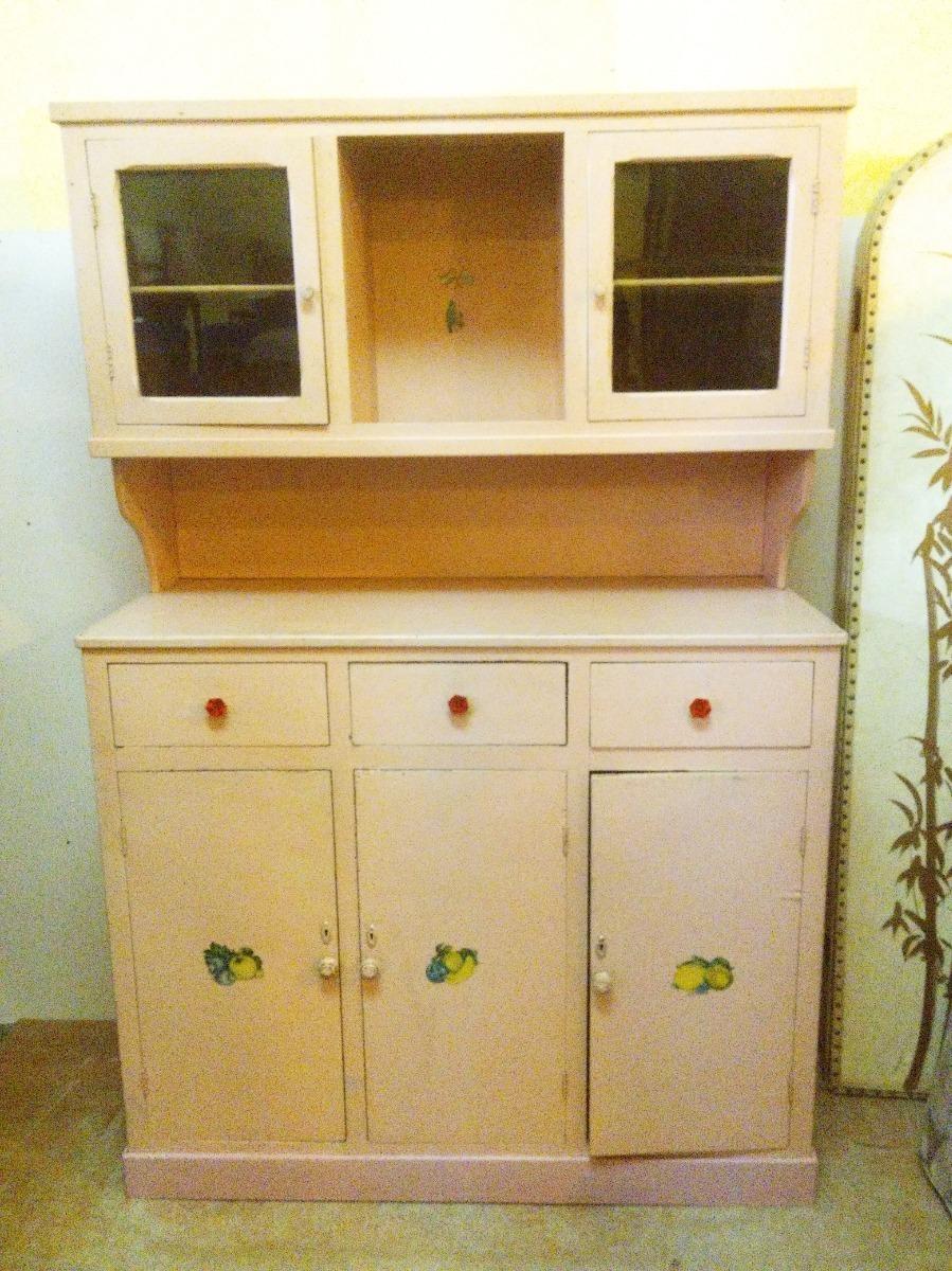 Antiguo Rustico Mueble Cocina Alacena Pino Blanco Indalecio