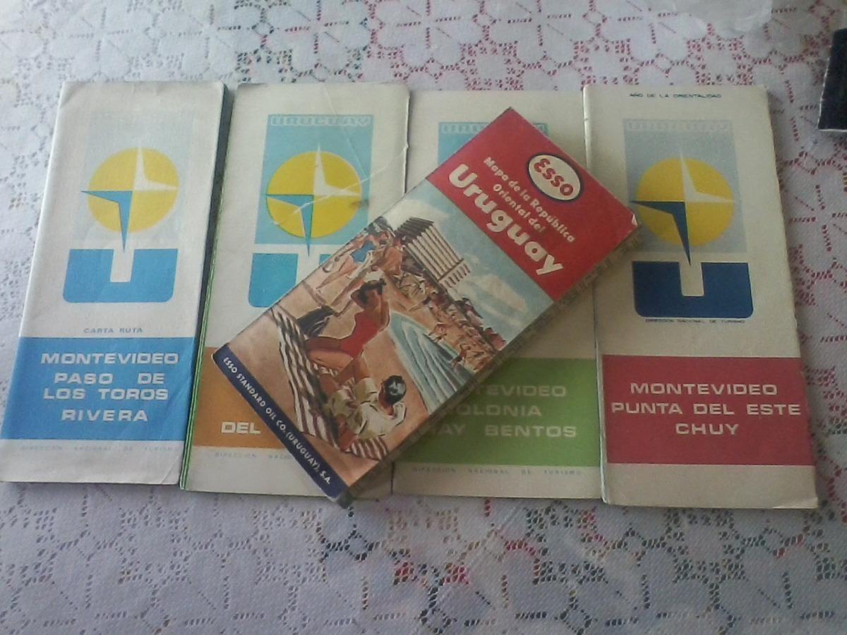 Antiguos Mapas Carta De Rutas Uruguay Lote X 4 Diferent 1 200 00