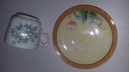 antiguos plato y taza de cafe
