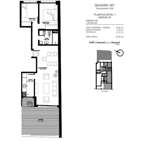 apartamento 2 dormitorios en cordon a estrenar