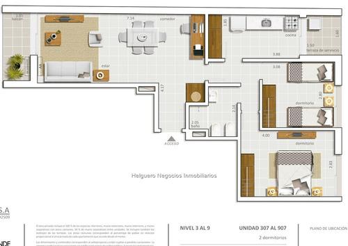 apartamento 2 dormitorios terraza al frente cordón sur