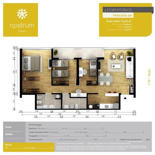 apartamento 3 dormitorios en venta en montevideo