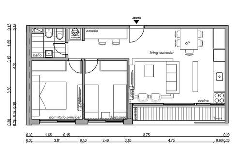 apartamento a estrenar 2 dormitorios, balcón.