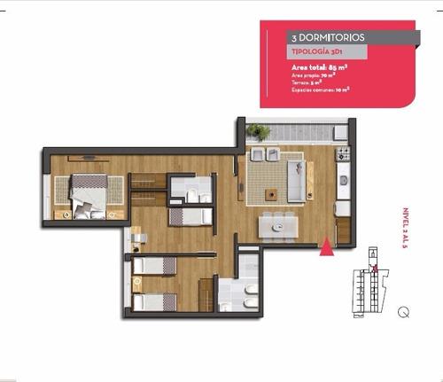 apartamento en venta 3 dormitorios -  nostrum centenario
