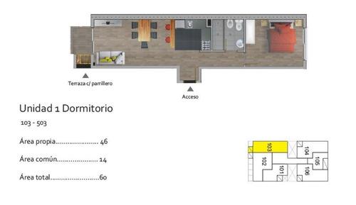 apartamento la blanqueada venta, 1 dormitorio, terraza con parrillero