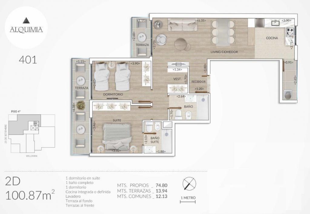 apartamento punta carretas venta 2 dormitorios 21 y williman, edificio alquimia