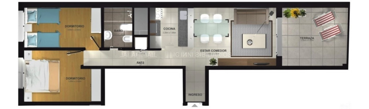 apto. como nuevo 2 dormitorios con gran terraza cordón