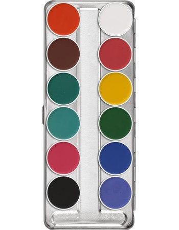 aqua color kryolan palette x 12 colores
