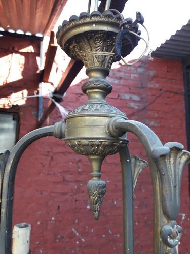 araña 6 luces en br con baño en oro