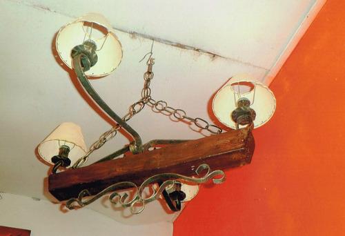 arañas colgante hierro y madera rustica de 4 luces